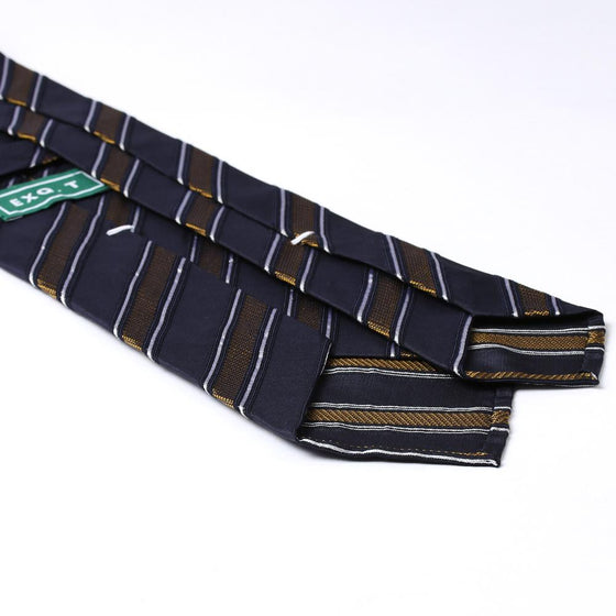 '+ F. Marino Navy and Gold Stripe Hand Rolled Silk Jacquard Repp Tie - Exquisite Trimmings
