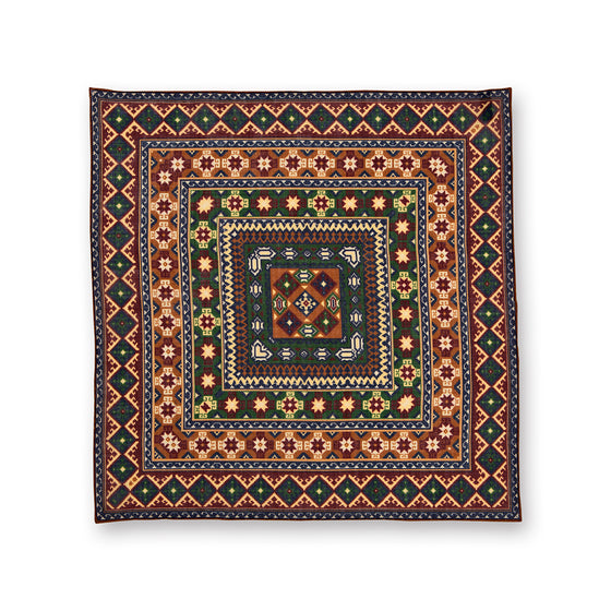 Green and Wine Geometric Kilim Print Wool/Silk Pocket Square