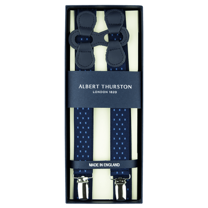 Navy Star Elastic Infinity Clip-On Braces - Exquisite Trimmings