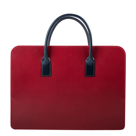 Zip Top Briefcase in Burgundy Bridle Leather - Exquisite Trimmings