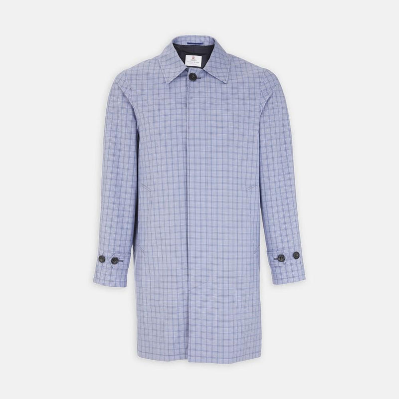 Flordon Architect Tonal Blue Multi Check Coated Cotton Mac - Exquisite Trimmings