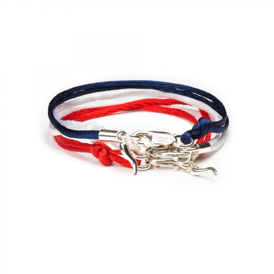 Set of 3 Good Luck Silk and Silver Charm Bracelet (Red, Navy, White) - Exquisite Trimmings