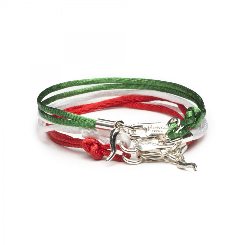 Set of 3 Good Luck Silk and Silver Charm Bracelet (Green, White, Red) - Exquisite Trimmings