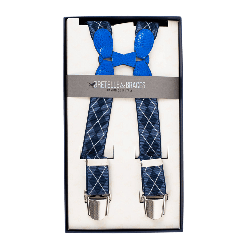 Navy Check Elastic Clip-On Braces - Exquisite Trimmings