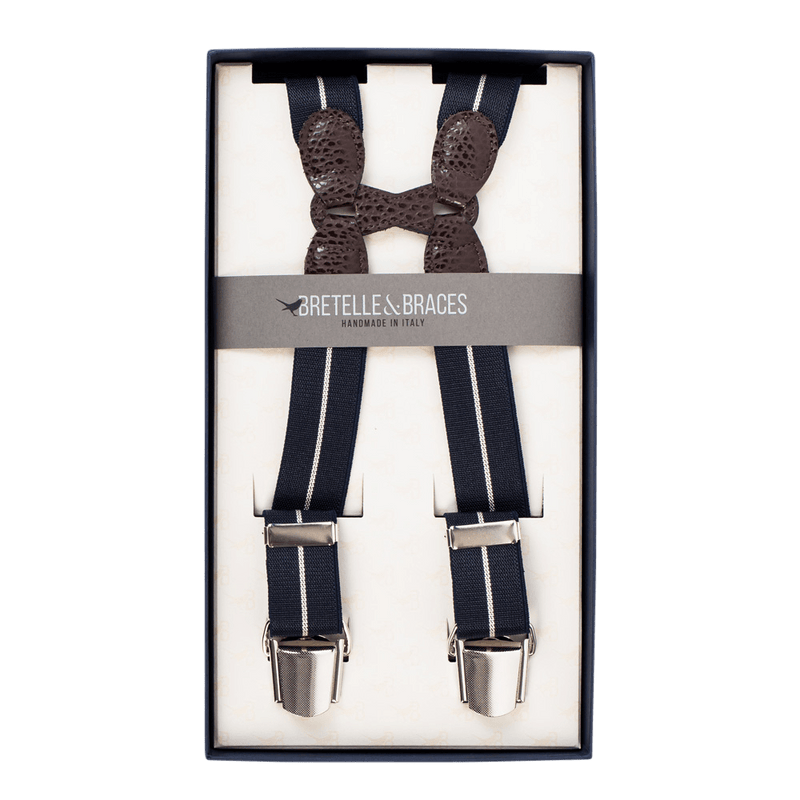 Navy Bar Stripe Elastic Clip-On Braces - Exquisite Trimmings