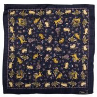 Exclusive Navy Rabbit Print Silk/Wool Pocket Square - Exquisite Trimmings