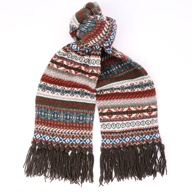Fair Isle Wool Scarf with Brown Hand-Tied Tassels - Exquisite Trimmings