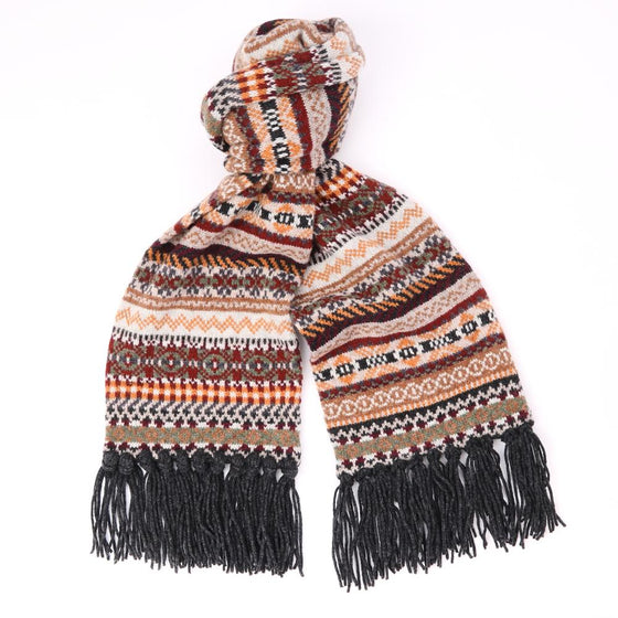 Fair Isle Wool Scarf with Grey Hand-Tied Tassels - Exquisite Trimmings