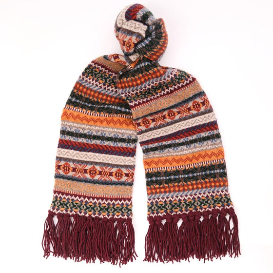 Fair Isle Wool Scarf with Wine Hand-Tied Tassels - Exquisite Trimmings