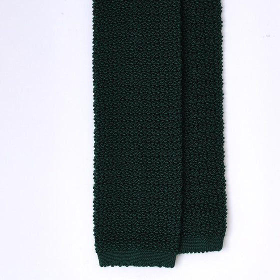 Forest Green Knitted Silk Solid Colour Tie - Exquisite Trimmings