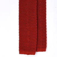 Orange Knitted Silk Solid Colour Tie - Exquisite Trimmings
