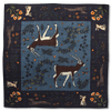 Navy Call of Kudu Print Hand Rolled Wool/Silk Square - Exquisite Trimmings