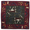 Green/Purple Call of Kudu Print Hand Rolled Wool/Silk Square - Exquisite Trimmings