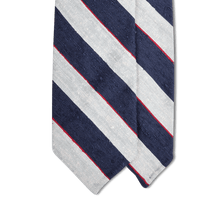 '+ F. Marino Navy and White Striped Shantung Silk Tie - Exquisite Trimmings