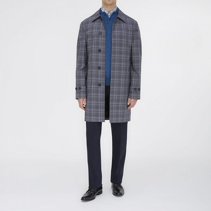 Flordon Architect Grey and Black Check Coated Cotton Mac - Exquisite Trimmings