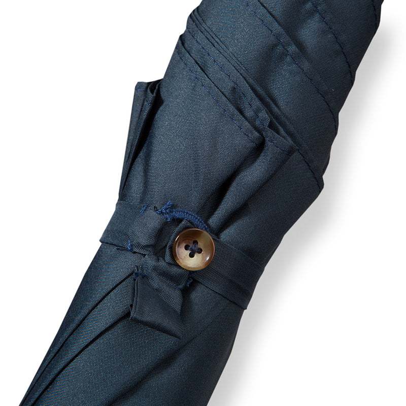 Malacca Handle Umbrella with Classic Navy Canopy - Exquisite Trimmings