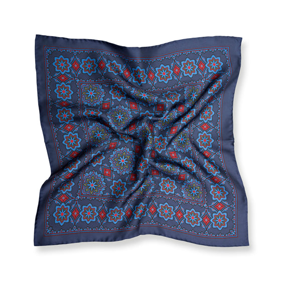 Navy Medallion Print Silk Pocket Square