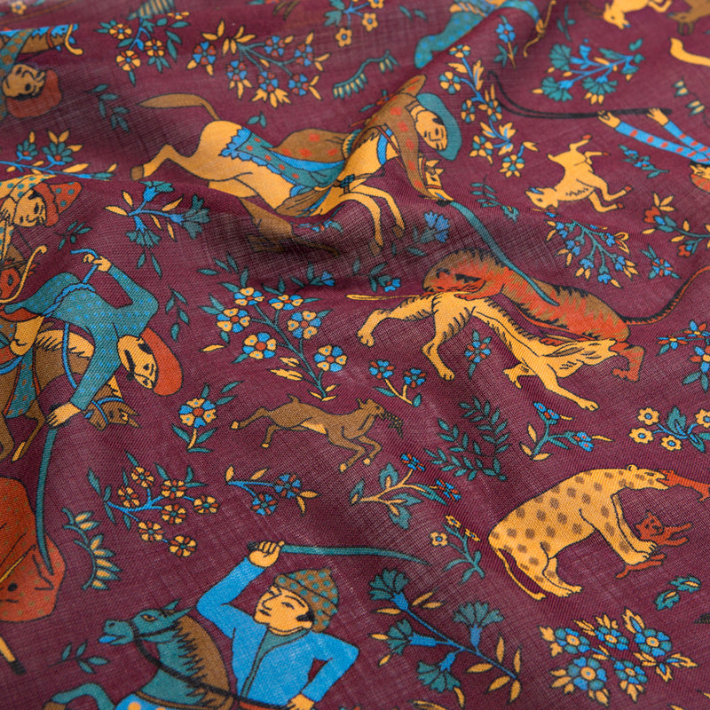 Wine Mughal Print Silk/Wool Pocket Square