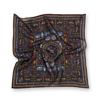 Navy Navajo Elephant Print Wool/Silk Pocket Square