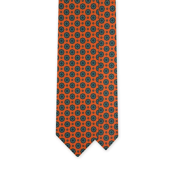 Orange Floral Medallion Printed Italian Madder Silk Tie