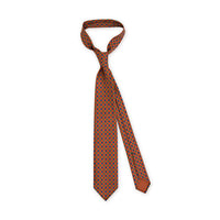 + F. Marino Orange Neat Print Silk Tie