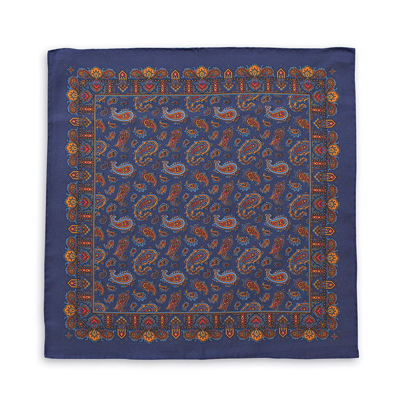 Navy Paisley Printed Madder Silk Pocket Square