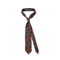 Orange Paisley Print Silk Twill Tie