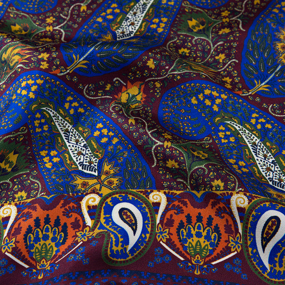 Wine Paisley Fantasy Print Silk Pocket Square