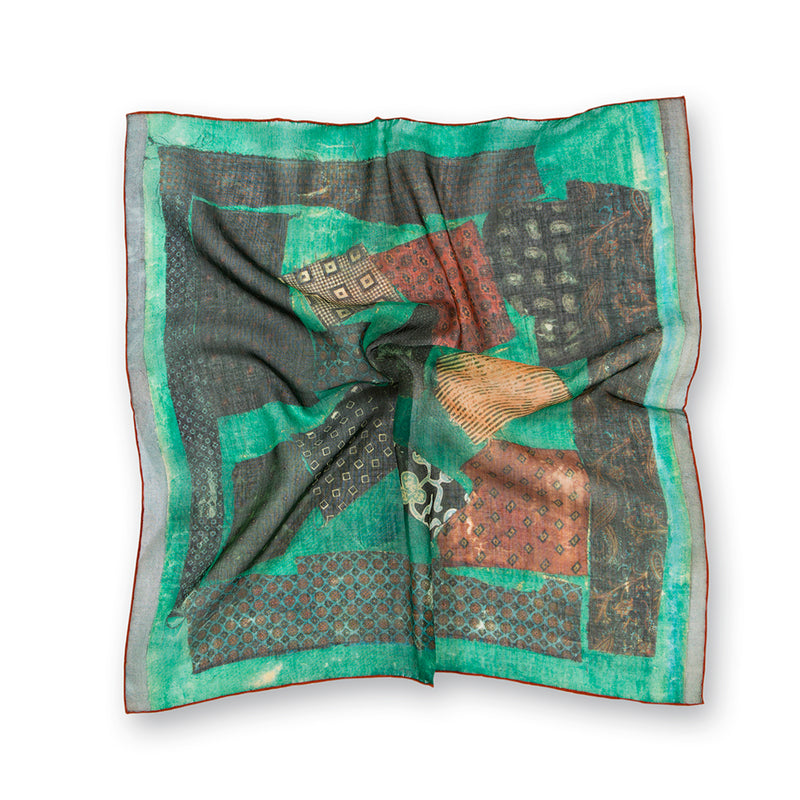 Patchwork Print Cotton/Modal/Cashmere Pocket Square