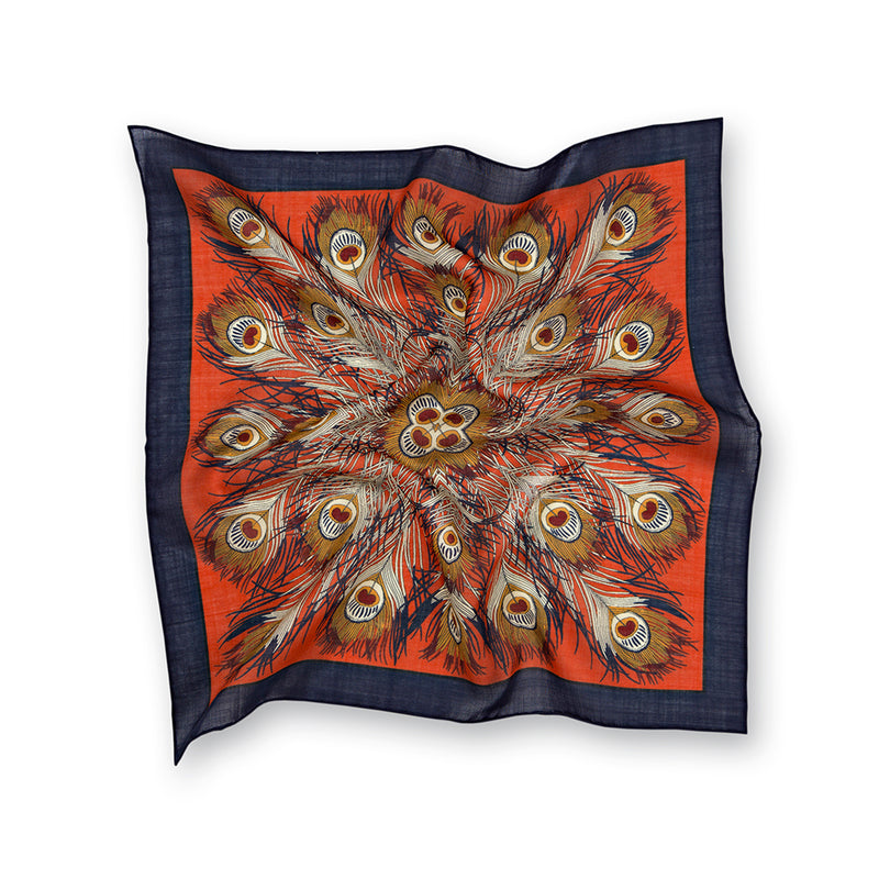 Orange Peacock Feathers Print Silk/Wool Pocket Square