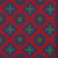 Red Medallion Print Italian Madder Silk Tie
