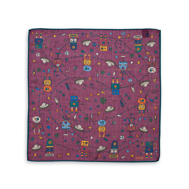 Robots and Space Print Wool-Silk Pocket Square