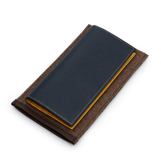 Navy Calf Leather Hand Made Breast Wallet - Exquisite Trimmings