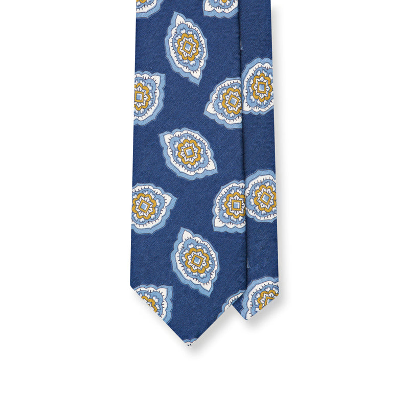 Navy Medallion Print Silk/Linen Handrolled Tie