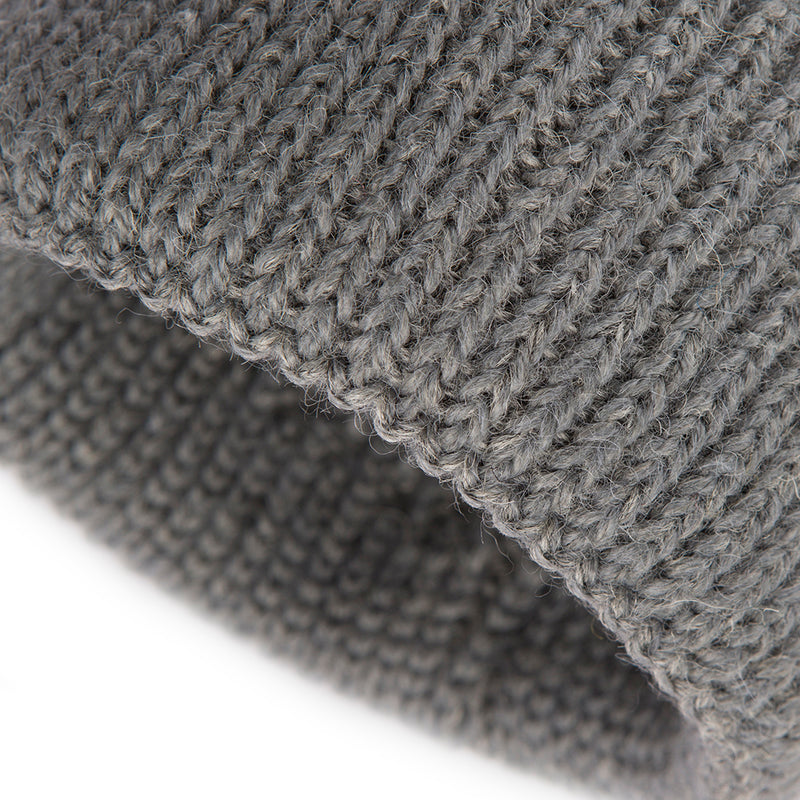 Grey Alpaca Wool Blend Ribbed 2 Gauge Knit Hat