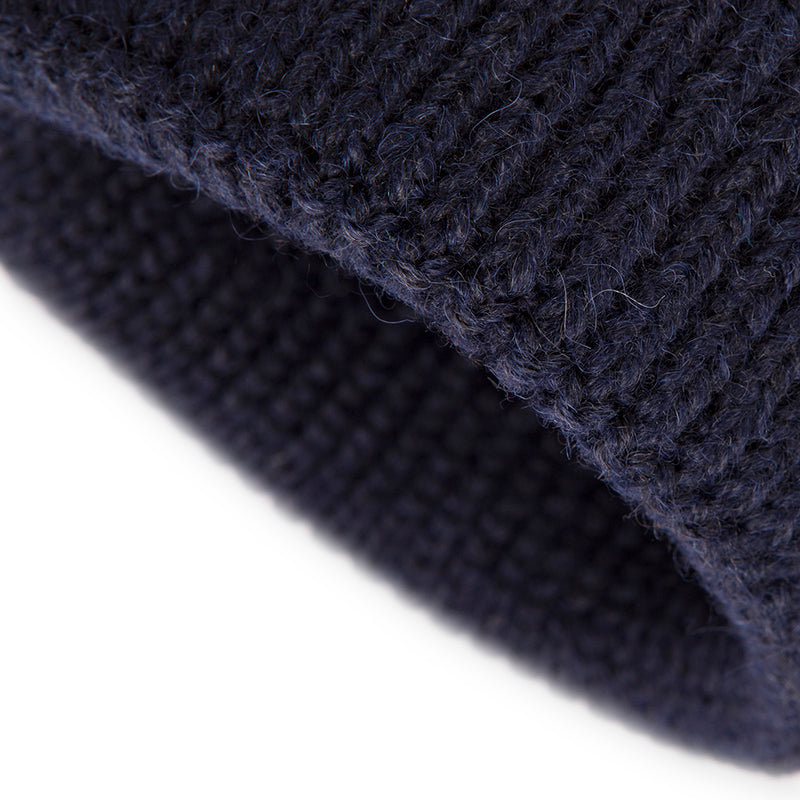 Navy Alpaca Wool Blend Ribbed 2 Gauge Knit Hat