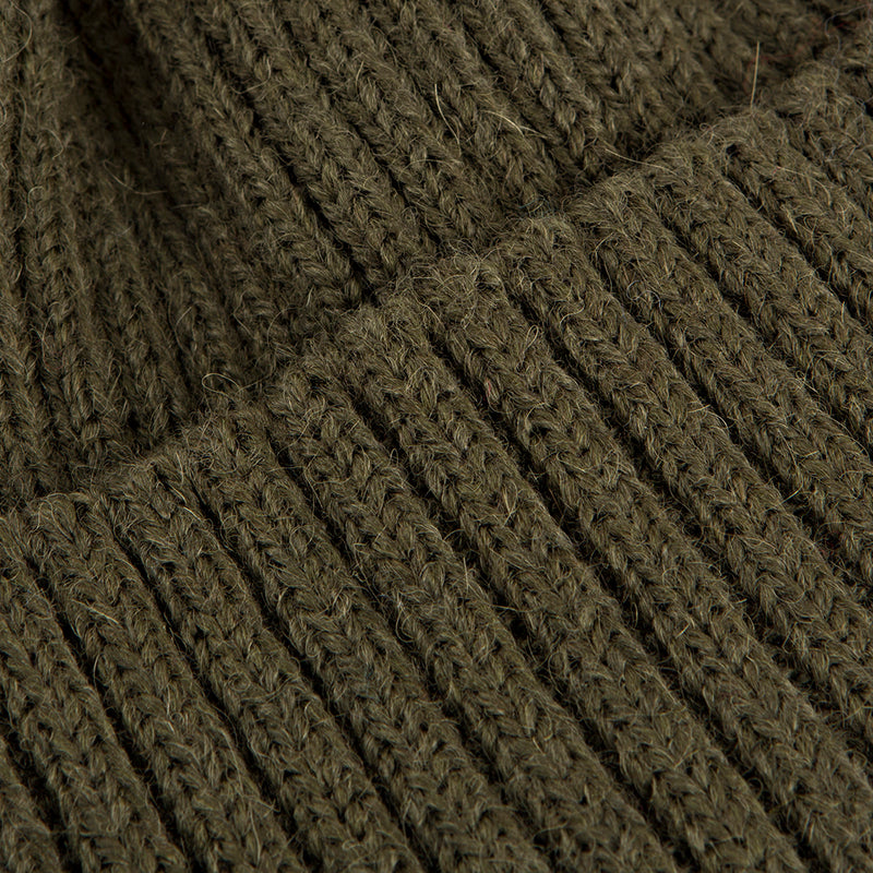 Olive Green Alpaca Wool Blend Ribbed 2 Gauge Knit Hat