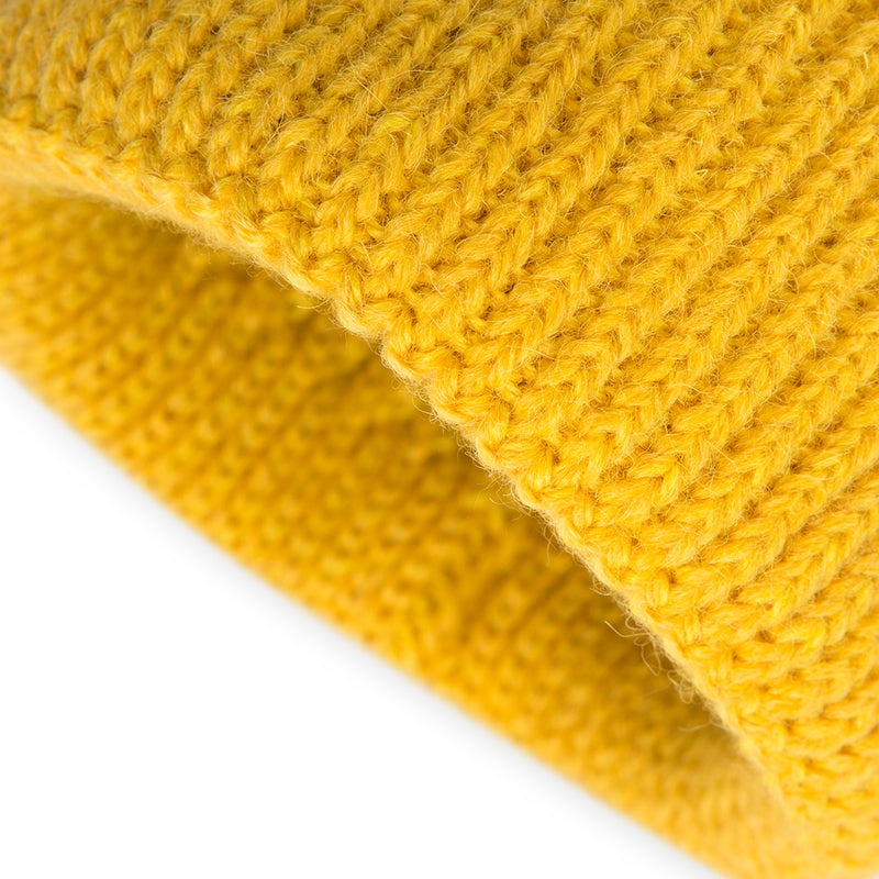 Yellow Alpaca Wool Blend Ribbed 2 Gauge Knit Hat