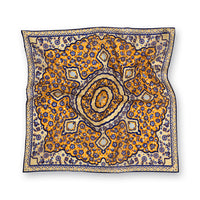 Yellow Kaleidoscope Print Wool/Silk Pocket Square