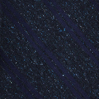'+ F. Marino Navy Flecked Stripe Silk Hand Rolled Tie - Exquisite Trimmings