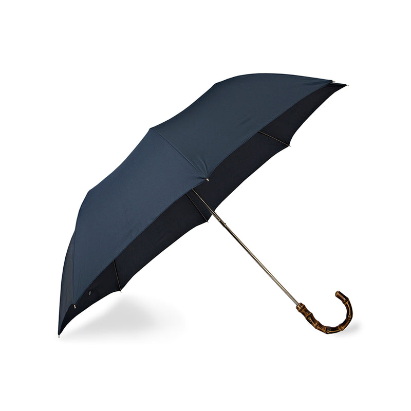Navy Telescopic Foldable Travel Umbrella with Bamboo Handle