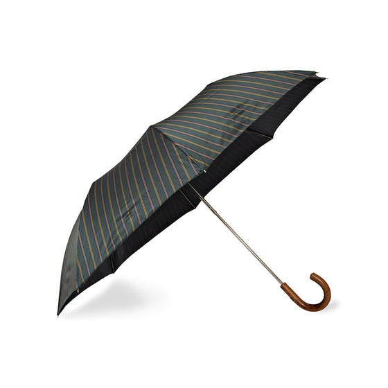 Green Striped Telescopic Foldable Travel Umbrella with Malacca Handle