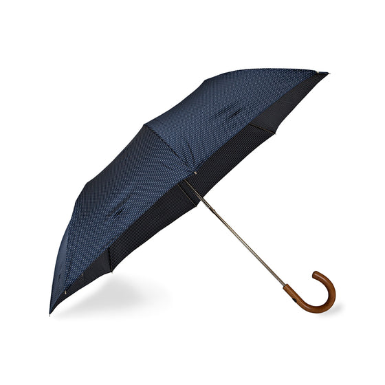 Navy Spotted Telescopic Foldable Travel Umbrella with Malacca Handle