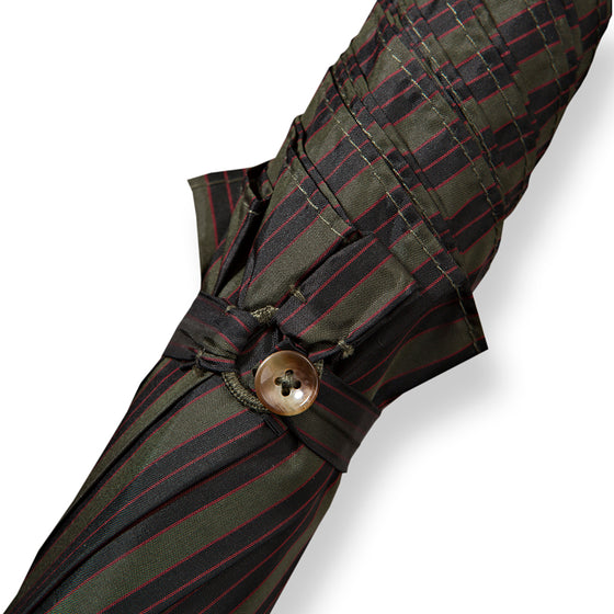 Tiger Hickory Handle Umbrella with Green Striped Canopy