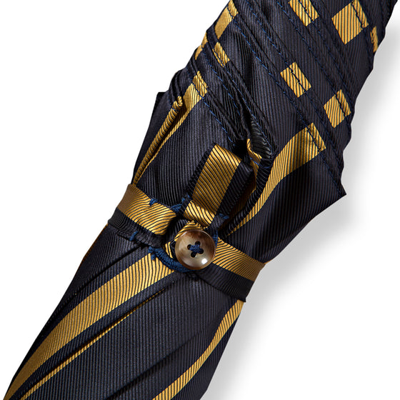 Tiger Hickory Handle Umbrella with Navy Striped Canopy