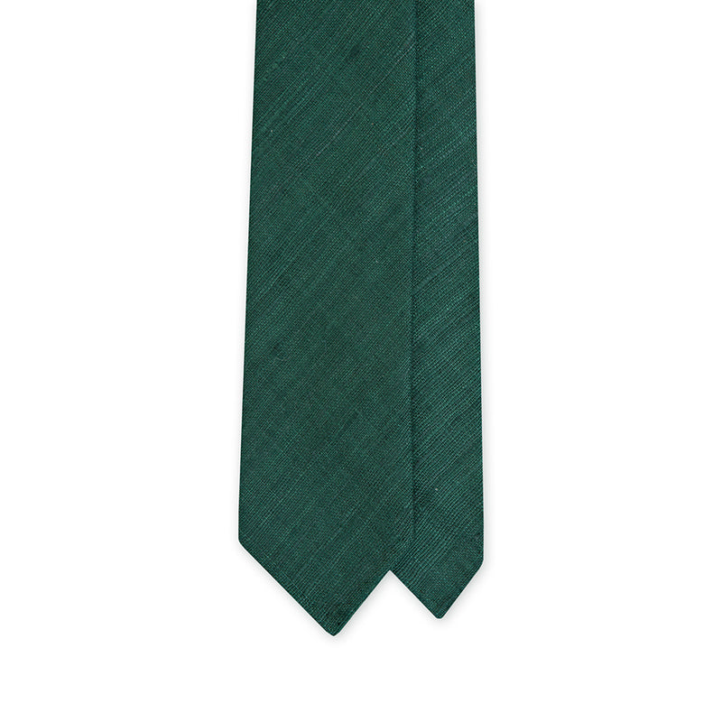 Green Handrolled Tussah Silk Tie