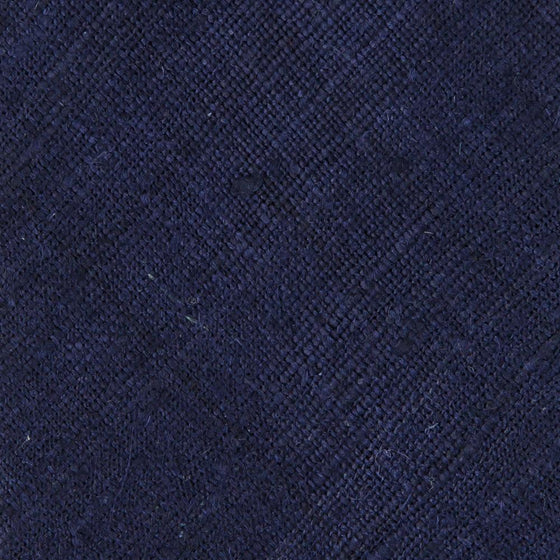 Solid Navy Handrolled Silk Tussah Tie - Exquisite Trimmings