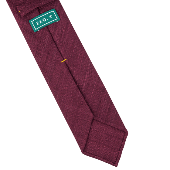 Solid Wine Handrolled Silk Tussah Tie - Exquisite Trimmings