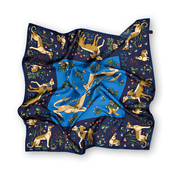 Navy/Blue Unicorn Print Hand Rolled Silk Square Scarf 65cm