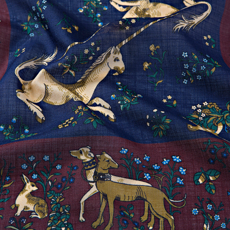 Wine/Navy Unicorn Print Hand Rolled Wool/Silk Square